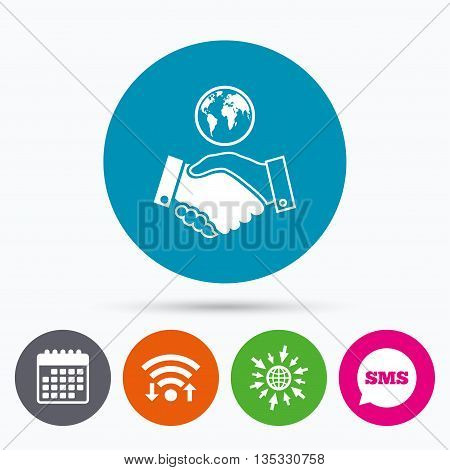 Wifi, Sms and calendar icons. World handshake sign icon. Amicable agreement. Successful business with globe symbol. Go to web globe.