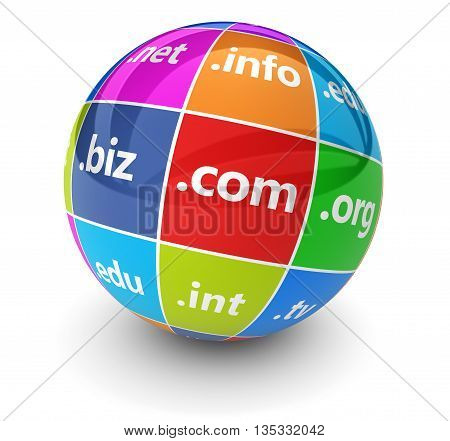 Website hosting and Internet domain names web concept with domains sign and word on a colorful globe 3D illustration on white.