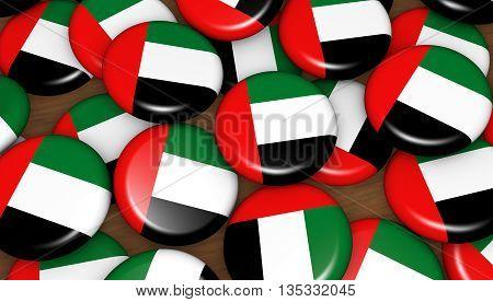 United Arab Emirates flag on badges background for UAE national day events holiday and celebration 3D illustration.