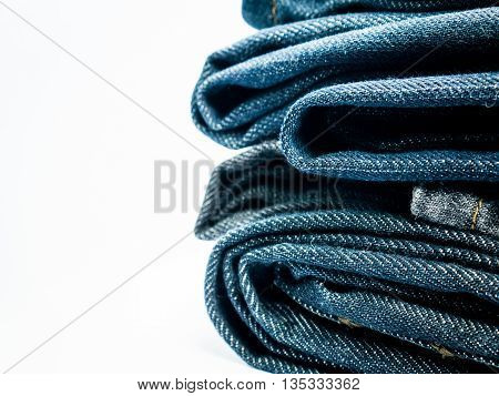 Stack of jeans Background and copy space