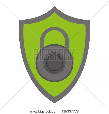 green shield with grey key lock in the center vector illustration