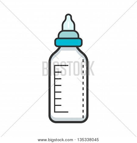 Baby bottle with teat for milk. Feeding. Flat color icon. Object isolated on white background.