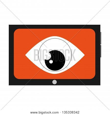 cellphone with orange screen and big eye in the center vector illustration