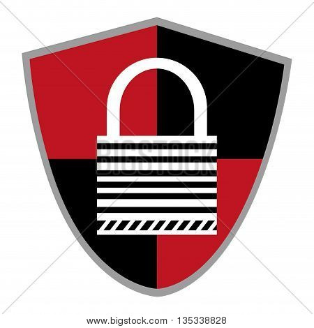 black and red shield with striped key lock in the center vector illustration
