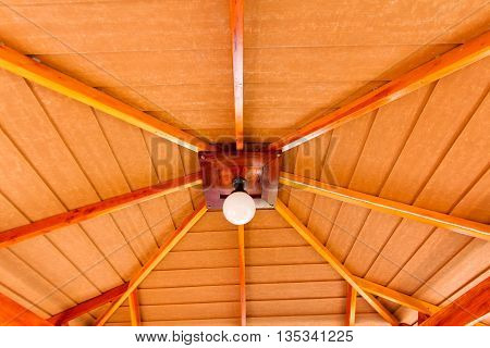 lamp on a wooden ceilings in the house