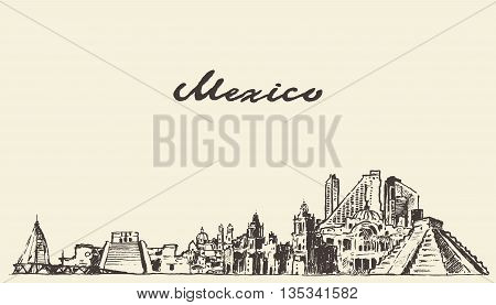Mexico skyline vintage vector engraved illustration hand drawn sketch