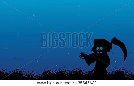 Silhouette of warlock Halloween with blue backgrounds illustration