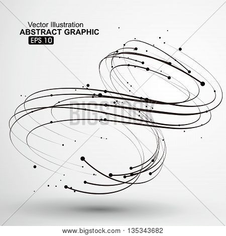 Points and curves of spiral, abstract graphics.