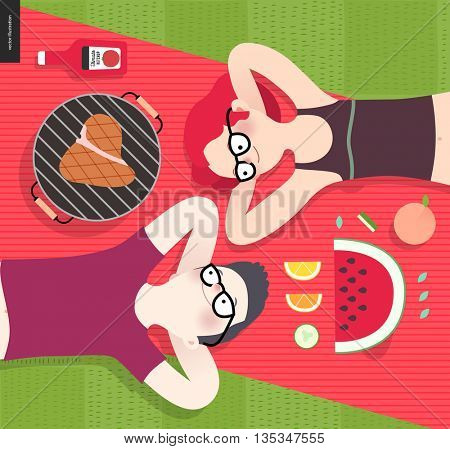 Young couple on picnic, top view,vegetarian vs meat eater - flat cartoon vector illustration of woman and man laying down on red plaid on green grass, with vegetarian and meat meal