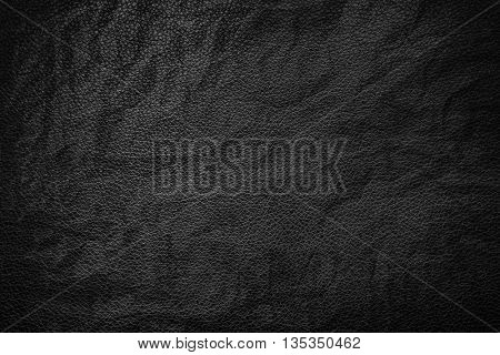 Black crumpled leather texture background, texture background