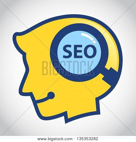 Vector stock of human head silhouette with SEO search symbol inside
