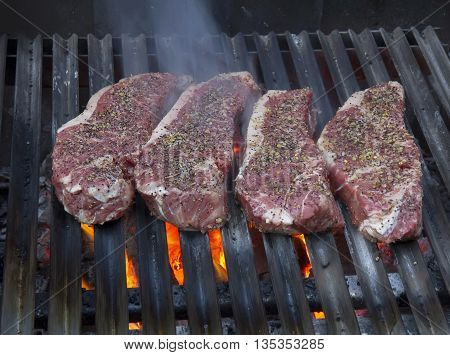 Closeup of four New York Steaks with spices on hot grill