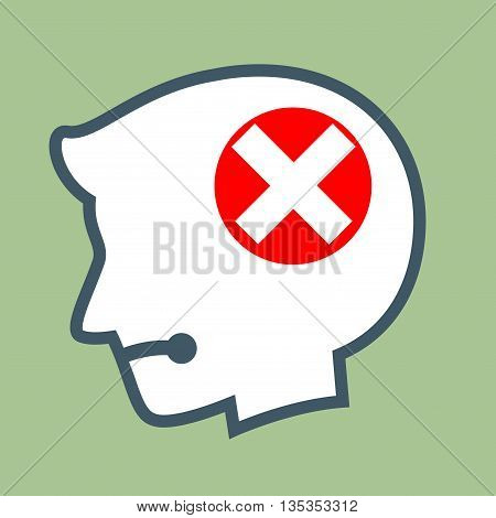 Vector stock of human head silhouette with wrong cross symbol inside