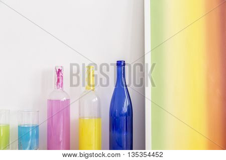 Colorful Bottles Decorated By Artist