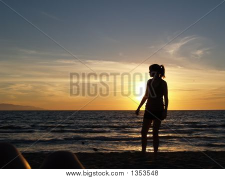 Teen Girl Sunset Silhouette