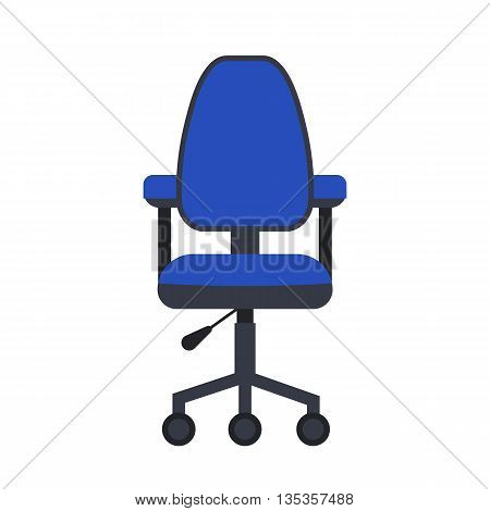 Office chair flat icon. Vector office chair illustration. Concept of cartoon office chair desk. Colorful office chair icon for your design. Flat cartoon chair isolated. The office furniture icon.