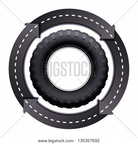 Design Template with Circles Arrow Road And Car tire isolated on white background. Symbol of trucking. Vector illustration