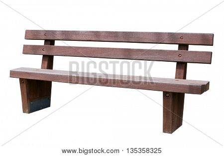 brown park bench . Isolated over white background .