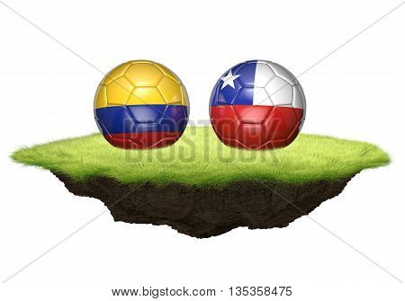 Colombia vs Chile team balls for football championship tournament, 3D rendering