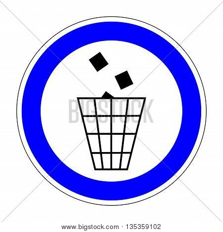 Sign place for littering. Flat symbol of garbage. Modern art scoreboard. Allowed graphic image. Plane refuse mark in blue circle on white background. Recycle figure. Stock vector illustration