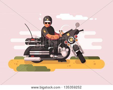 Police officer on motorcycle. Policeman biker, moto patrol, vector illustration