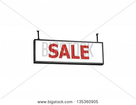 Sale signboard on white background, stock photo