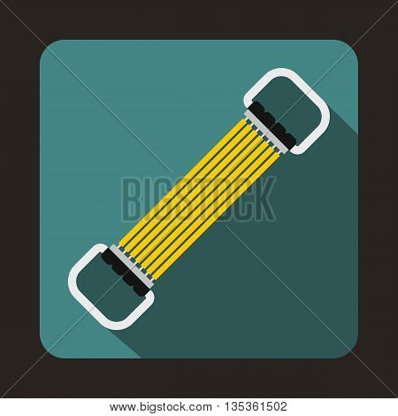 Sports stretchable belt icon in flat style on a blue background