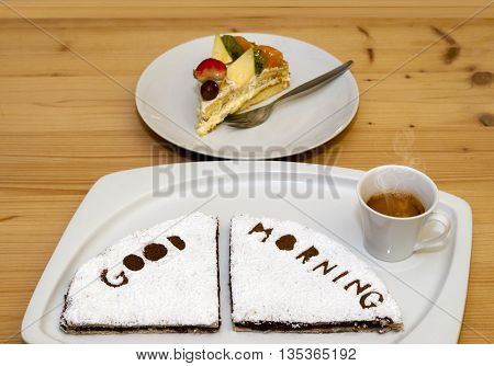 Breakfast Whit Crepes, Cake And Coffee