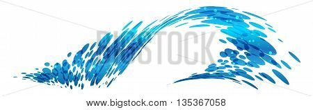 Wave design, stylized composition, water fall, vector illustration