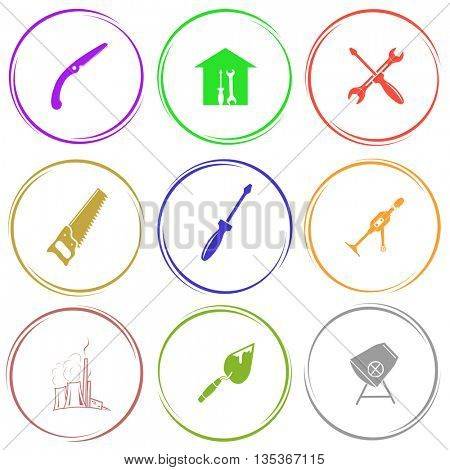 hand saw, workshop, screwdriver and spanner, hand drill, thermal power engineering, trowel, concrete mixer. Industrial tools set. Internet button. Vector icons.
