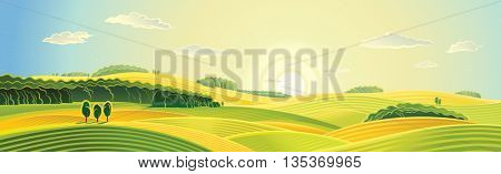 Rural landscape. Panorama view. Sunrise over the fields. The intended use as a background. Vector illustration.