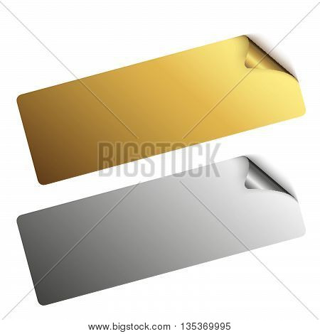 two stickers with turned over corner in silver and gold