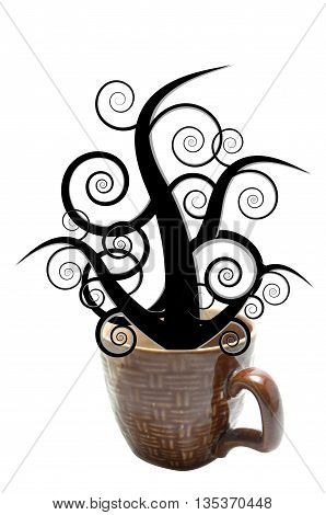 wooden pattern cup isolated black tree fantasize