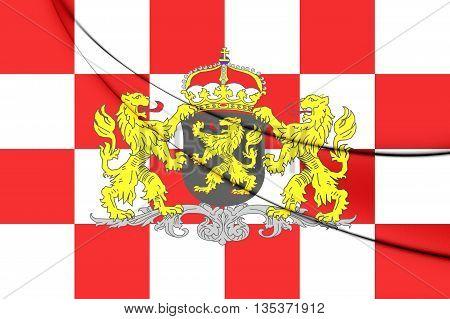 Flag Of North Brabant Province, Netherlands. 3D Illustration.