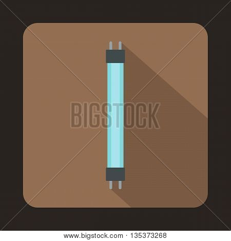 Fluorescence lamp icon in flat style on a brown background