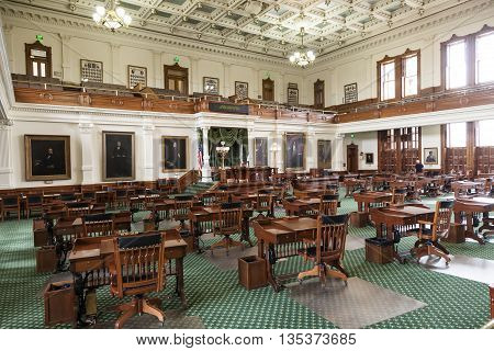 AUSTIN USA - APR 10: Interior of the Texas Senate Chamber in Austin. The 31 member senate meets every two years and is limited to a 140 day session. April 10 2016 in Austin Texas USA