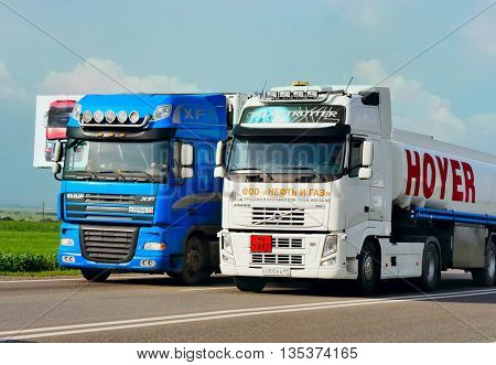 ROSTOV / DON. RUSSIA. M4-DON. June 16, 2016. The trailer transports cars on the highway M4 Don. June 16. Russia