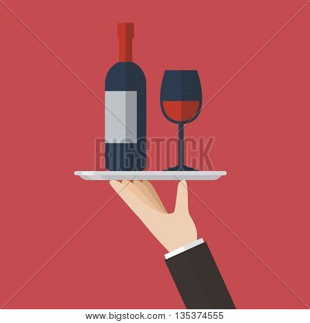 Waiter serving a wine bottle and wine glass. Flat style design vector illustration