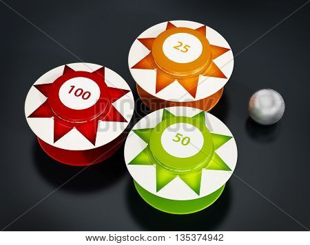 Pinball bumpers and metal ball on black background. 3D illustration.