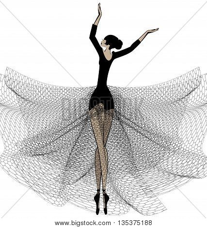 white background and dancing black ballet girl