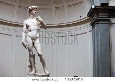 Florence Italy 15.06.2016. Statiue of David di Michelangelo in Galleria dell'Accademia