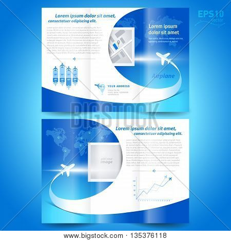 brochure design template tri-fold airplane flight line takeoff blue