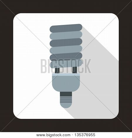 Fluorescent bulb icon in flat style on a white background