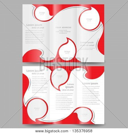Brochure design template cover twist red white color frame for images