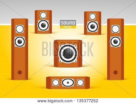 audio speakers, sound music system set, 5.1