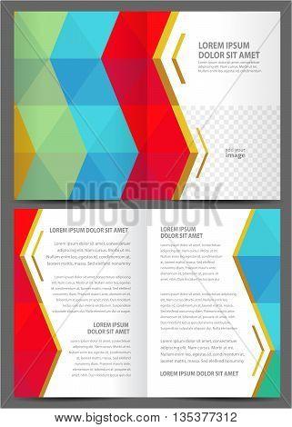 brochure design template booklet catalog colored geometric rhombus