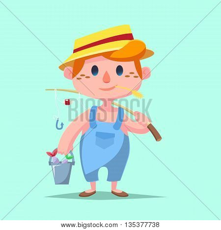 Cute Catroon Boy Fishing Vector Illustration