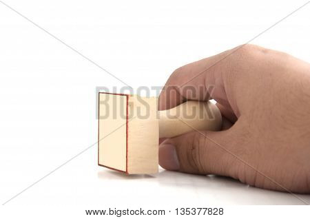 Rubber stamper with the word in hand