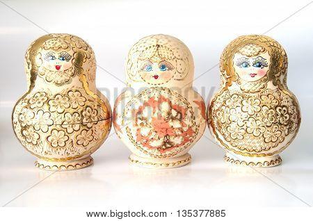 matryoshka doll on the white souvenir at russian