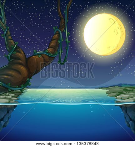 Nature scene with fullmoon and river illustration